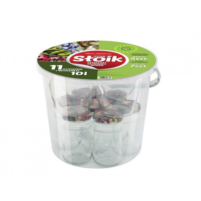Zavařovací sklenice 11 ks a kbelík Florina