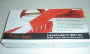 Keramický nůž včetně chrániče ostří a keramická škrabka v dárkovém balení-Červená rukojeť bílé ostří