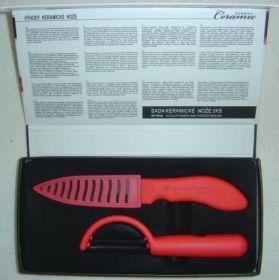 Keramický nůž včetně chrániče ostří keramická škrabka v dárkovém balení-Červená rukojeť černé ostří