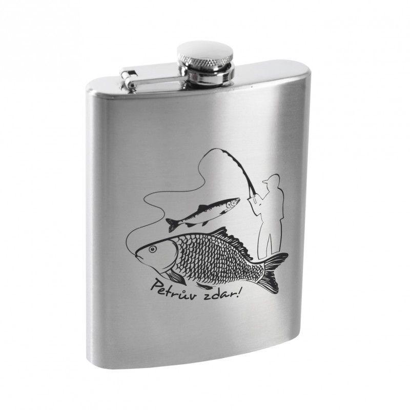 Placatka rybář - butilka s dekorem PETRŮV ZDAR