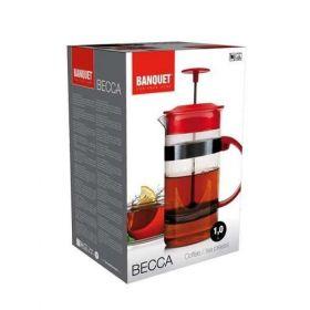 Konvice na kávu nebo čaj se sítkem BECCA 1 l pro tzv. French press, červená Banquet