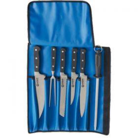 Profesionální sada kovaných nožů včetně obalu 4 nože + vidlička + ocilka + pouzdro STALGAST