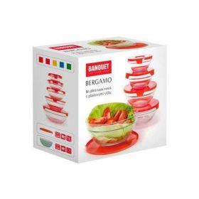 5ti dílná sada misek Bergamo s plastovými víčky Banquet