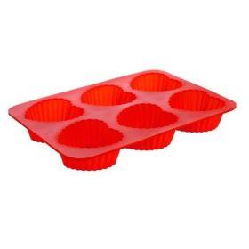 Silikonová forma 6ks srdce střední 24,5x17,5x3 cm Culinaria - red