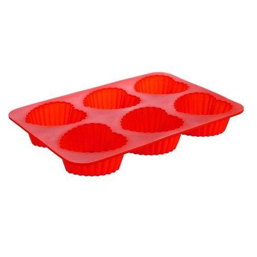 Banquet Silikonová forma 6ks srdce střední 24,5x17,5x3 cm Culinaria - red