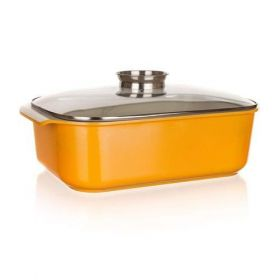 Pekáč se skleněnou poklicí a aroma knobem Gourmet Ceramia ORANGE 40x25x11 cm BANQUET