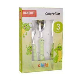 3-dílná sada dětských příborů CATERPILLAR Housenka s plastovou rukojetí Banquet