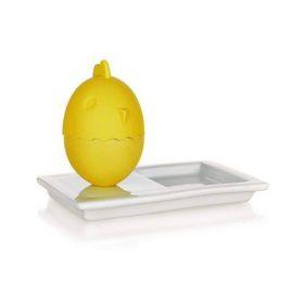 Silikonový kalíšek na vajíčka s talířkem 13,8x8,8cm COLOR PLUS YELLOW