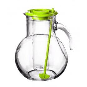 Džbán skleněný 2 l s chladící vložkou na led a míchátkem - zelený