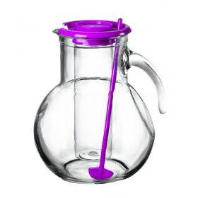 Džbán skleněný 2 l s chladící vložkou na led a míchátkem - fialový