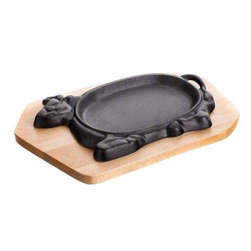 Pánev litinová servírovací na dřevěném prkénku 27*17cm Grada - Kráva Banquet