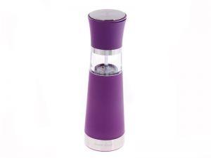 Elektrický mlýnek na koření 20,5 cm fialový s krytkou keramický mlecí mechanismus