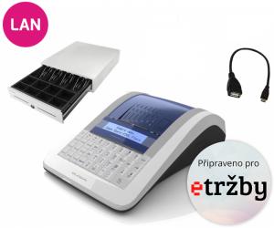 Registrační pokladna EURO-150TEi Flexy EET LAN Ethernet + Pokladní zásuvka CD-530 černá