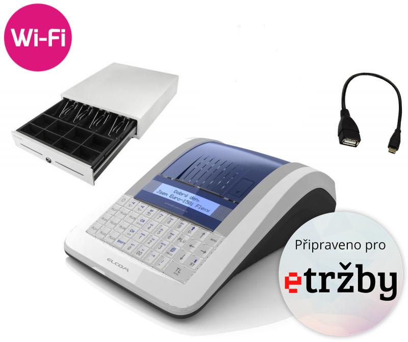 ELCOM Registrační pokladna EURO-150TEi Flexy EET WIFI + Pokladní zásuvka CD-530 černá