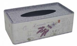 Plechová krabička na kapesníčky Levandule