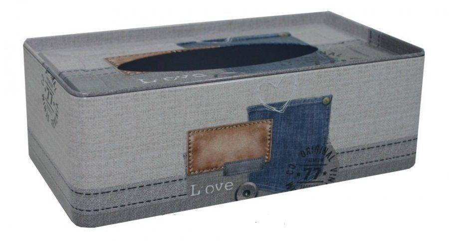 Plechová krabička na kapesníčky Denim