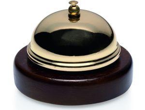 Zvonek recepční mosaz se dřevem, 9 cm