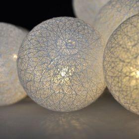 Solight 1V201 LED řetěz vánoční koule bavlněné, 10LED, 1m, 2x AA, IP20