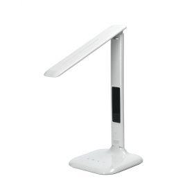 Solight LED stmívatelná stolní lampička s displejem, 6W, volba teploty světla, bílý lesk