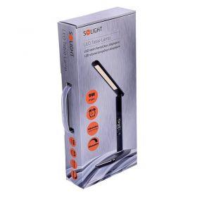 Solight WO45-B LED stolní lampička s displejem, 9W, volba teploty světla, kůže, černá