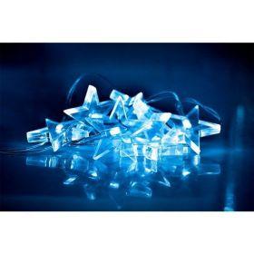 Solight LED vánoční řetěz, hvězdy, 1,5m, 10x LED, 2x AA, modré světlo