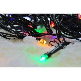 Solight LED venkovní vánoční řetěz, 100 LED, 10m, přívod 3m, 8 funkcí, časovač, IP44, vícebarevný