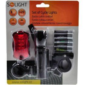 Solight WL19 sada cyklo světel, přední 3W LED + zadní 5x LED, 2x držák, 5x AAA baterie