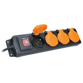 Solight prodlužovací přívod IP44, 4 zásuvky, gumový kabel, vypínač, venkovní, 10m