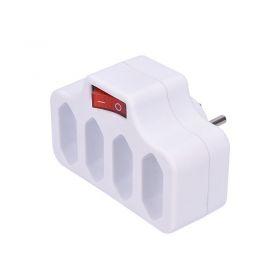 Solight rozbočka,  4 x 2,5A, bílá, vypínač