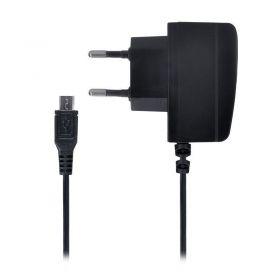 Solight USB nabíjecí adaptér, kabel microUSB, 1000mA, AC 230V, černý