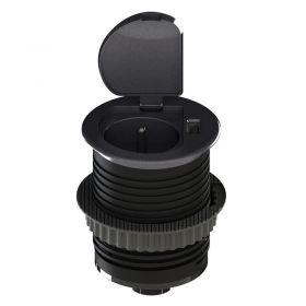 Solight USB vestavná zásuvka s víčkem, 1 zásuvka, plast, kruhový tvar, prodlužovací přívod 1,5m, 3x 1mm2, USB 2100mA, stříbrná