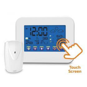 Solight meteostanice, velký dotykový barevný LCD, vnitřní/venkovní teplota, vlhkost, bílá
