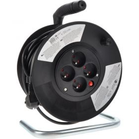 Solight prodlužovací přívod na bubnu, 4 zásuvky, černý, 25m