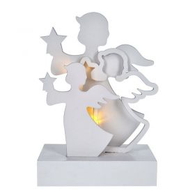 Solight LED andělé, dřevo, bílá barva, 2x AA