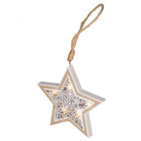 Solight LED vánoční hvězda, dřevěný dekor, 6LED, teplá bílá, 2x AAA
