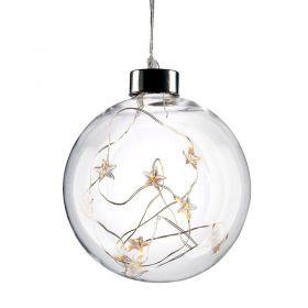 Solight LED vánoční koule skleněná, 10LED, 2x AA, IP20