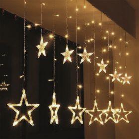 Solight LED vánoční závěs, hvězdy, šíře 1,8m, 77LED, IP20, 3xAA, USB