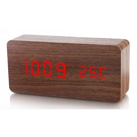 Dřevěný digitální LED budík WAC-020 Platinium