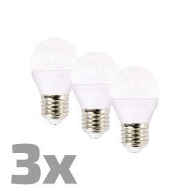 ECOLUX LED žárovka 3-pack , miniglobe, 6W, E27, 3000K, 450lm, 3ks