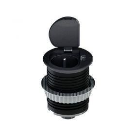 Solight USB vestavná zásuvka s víčkem, 1 zásuvka, plast, kruhový tvar, prodlužovací přívod 1,5m, 3x 1mm2, USB 2100mA, matná černá