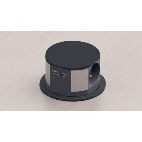 Solight výsuvný blok zásuvek, 3 zásuvky, 2x USB, kruhový tvar nízký, prodlužovací přívod 1,5m, 3 x 1mm2, černý
