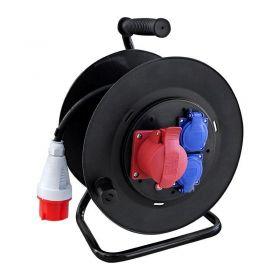 Solight prodlužovací přívod - na bubnu, venkovní, 3 zásuvky, 400V + 230V, černý, gumový kabel, 25m