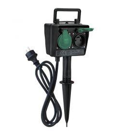 Solight zahradní sloupek IP44, 2 zásuvky + časový spínač, gumový kabel 1,5m