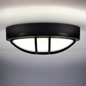 Solight LED venkovní osvětlení kulaté s mřížkou, 20W, 1500lm, 4000K, IP65, 23cm, černá
