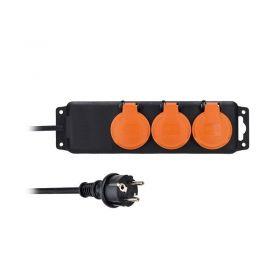 Solight prodlužovací přívod IP44, 3 zásuvky, gumový kabel, venkovní, 3m