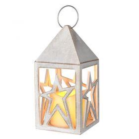 Solight dřevěná lucerna s LED svíčkou, 2x AA