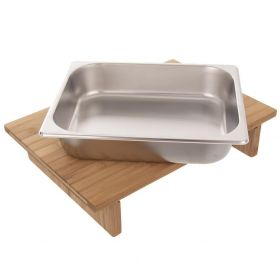 Prkénko bambus 42x29 cm + zásobník nerez gastronádoba Orion