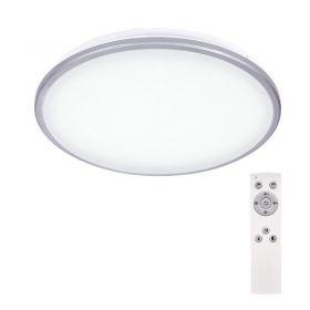 Solight LED stropní světlo Silver, kulaté, 24W, 1800lm, stmívatelné, dálkové ovládání, 38cm