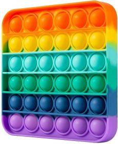 Pop it  - Fidgetová antistresová hra - rainbow - duha čtverec GMEX