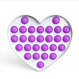 Pop it - Fidgetová antistresová hra - fialové srdce abeceda GMEX